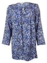 MICHAEL Michael Kors Women's Paisley 3/4 Sleeves Tunic Top (S, Amalfi Blue)