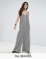 Noisy May Tall Stripe Contrast Jumpsuit