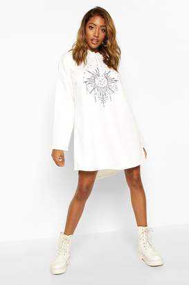 boohoo Solar Graphic Hooded Swing Sweatshirt Dress