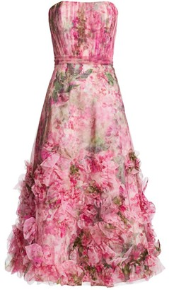 Marchesa Textured Printed A-Line Dress