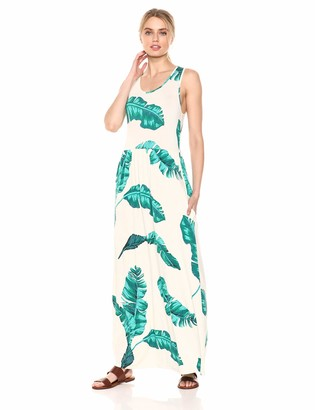 28 Palms Women's Tropical Hawaiian Print Sleeveless Maxi Dress Rainbow Fronds Medium