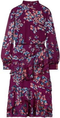 Saloni Isa Ruffled Floral-print Devore Midi Dress