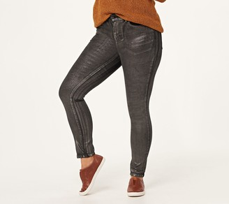 Logo by Lori Goldstein Petite Metallic Coated Skinny Jeans