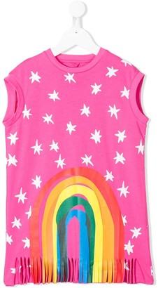 Stella Mccartney Kids star print rainbow detail T-shirt