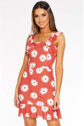 Quiz Red and White Polka Dot Floral Frill Sleeve Dress