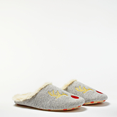Boden Embroidered Reindeer Slippers, Grey