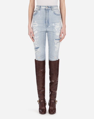Dolce & Gabbana Audrey Jeans In Light Blue Denim With Rips