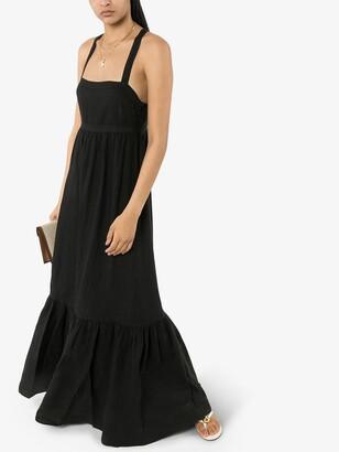 HONORINE Black Athena Flared Linen Maxi Dress