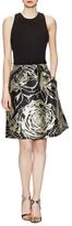 Theia Jewel Neck Bodice with Jacquard Party Skirt Dress