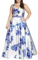 Mac Duggal Plus Size Women's Beaded Floral Ball Gown