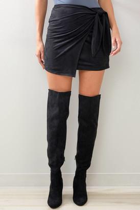 Abbeline Faux Suede Wrap Mini Skirt Black S