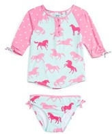 Hatley Toddler Girl's Ponies Two-Piece Rashguard Swimsuit