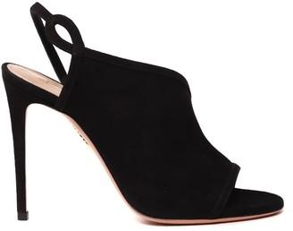Aquazzura Black Suede Asymmetric Sandals