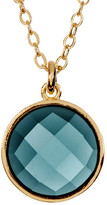 Melinda Maria Hunter Round London Blue Topaz Pendant Necklace