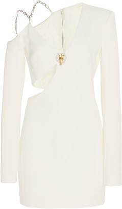 David Koma Asymmetric Cold-Shoulder Crepe Dress