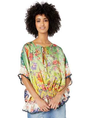Johnny Was Women's Scarf Printed Oversize Peasant Blouse