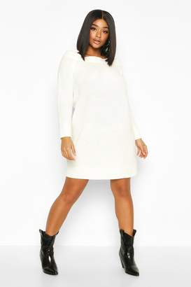 boohoo Plus Knitted Off The Shoulder Sweater Dress