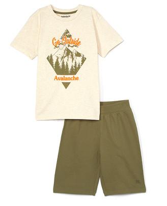 Avalanche Boys' Active Shorts OATMEAL - Oatmeal Heather 'Go Outside' Crewneck Tee & Olive Fleece Shorts - Boys