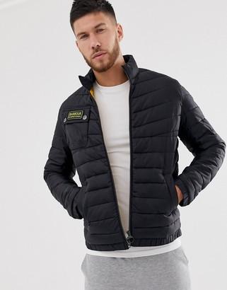 Barbour International Chain baffle jacket with logo pocket in black