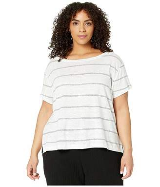 Eileen Fisher Plus Size Striped Organic Linen Jersey Wide Neck Tee (White) Women's Clothing