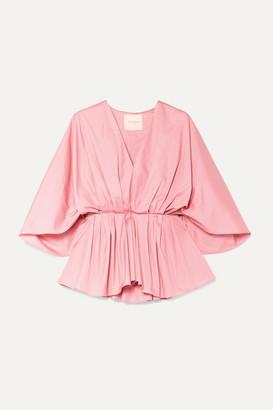 Roksanda Aniya Pleated Cotton-poplin Peplum Blouse - Pink