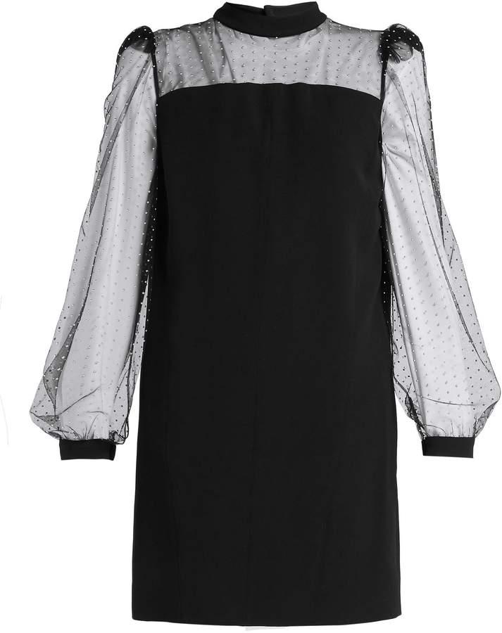 Givenchy Stud-embellished crepe and mesh mini dress