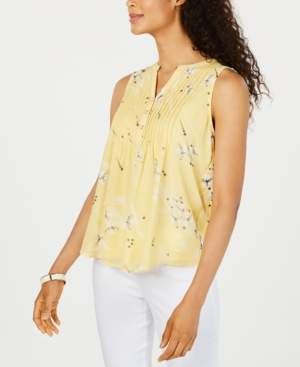 Charter Club Petite Floral-Print Pintucked Top, Created for Macy's