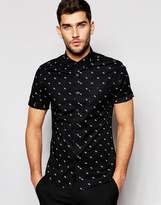 Asos Skinny Shirt In Black With Ditsy Fluorescent Print And Short Sleeves