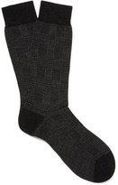 Pantherella - Montague Prince Of Wales Checked Escorial Wool-blend Socks
