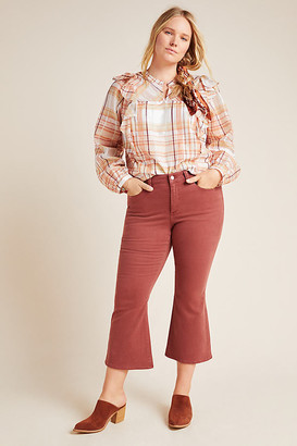 DL1961 x Marianna Hewitt Bridget High-Rise Kick Flare Cropped Jeans By DL1961 in Brown Size 24W