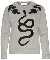 Gucci Snake-appliqué cotton-jersey sweatshirt
