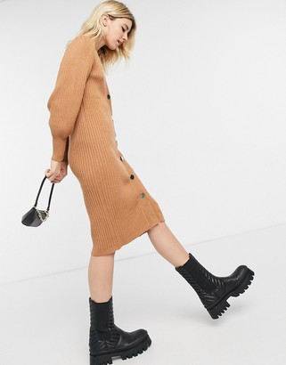 Object longline button front knitted dress in brown