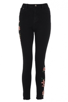 Quiz Black Floral Embroidered Skinny Jeans