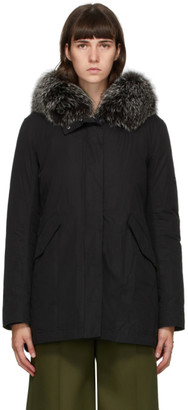 Yves Salomon Army Black Down and Fur Jacket