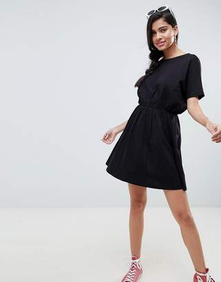 Asos Design DESIGN cross back smock dress in slub-Black