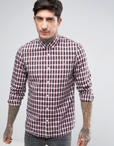 Fred Perry Summer Plaid Long Sleeve Shirt in Red