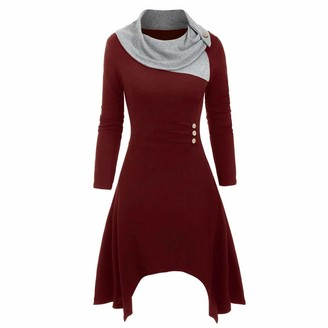 TEELONG Fashion Women Plus Size Scarf Neck Long Sleeve Buttons Patchwork Asymmetrical Knitted Midi Dress Casual Winter Sweatshirt Jumper Tunic Shirt Dress (Wine XL)