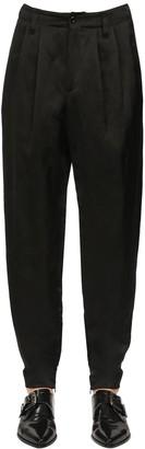 Dolce & Gabbana Viscose & Linen Satin Pants W/ Zips