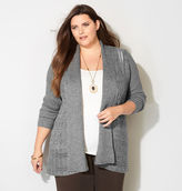 Avenue Marled Cable Trim Cardigan