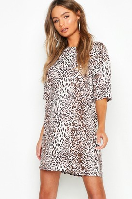 boohoo Leopard Print Oversized T-Shirt Dress