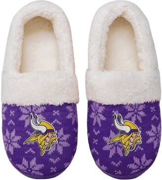 Women's Minnesota Vikings Ugly Knit Moccasin Slippers