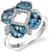 Ice 3 1/2 CT TW London Blue Topaz 14K White Gold Fashion Ring with Diamond Accents