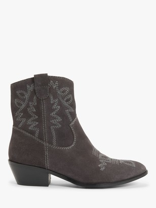 AND/OR Palmer Suede Stitch Detail Western Boots, Charcoal