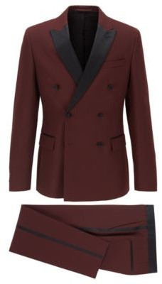 Double-breasted slim-fit suit with silk details
