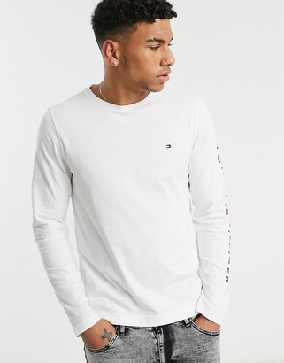 Tommy Hilfiger icon & sleeve logo long sleeve top in white