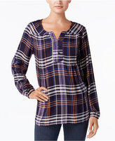 Style&Co. Style & Co Plaid High-Low Blouse, Created for Macy's