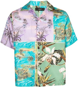Amiri Hawaiian satin patchwork shirt