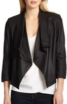 Alice + Olivia Draped Leather Jacket