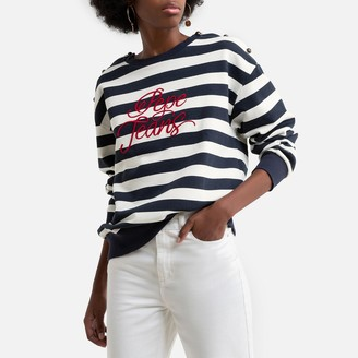 Pepe Jeans Cotton Striped Overhead Sweatshirt with Print Front