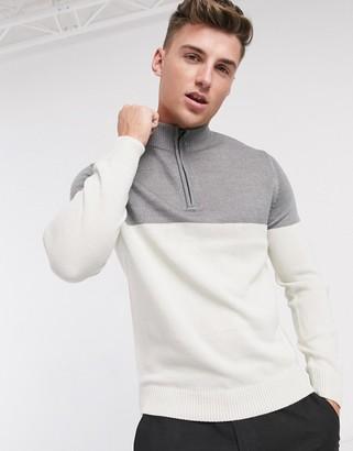 Brave Soul half-zip colour-block jumper in grey